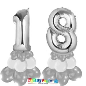 centrotavola palloncini numeri mylar 18 anni argento