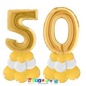 centrotavola palloncini numeri mylar 50 anni oro