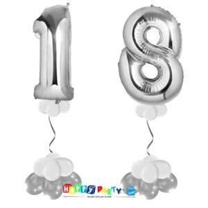 palloncini BASE da terra numeri doppi 18 anni argento