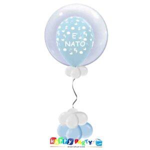 palloncini Bubble nascita azzurro bimbo