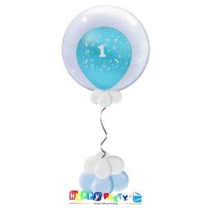 palloncini Bubble primo compleanno azzurro bimbo