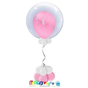 palloncini Bubble primo compleanno rosa bimba