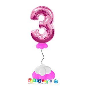 palloncini base da terra numeri singoli mylar 3 anni fuxia