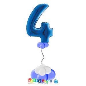 palloncini base da terra numeri singoli mylar 4 anni blu