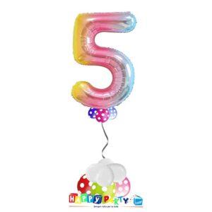 palloncini base da terra numeri singoli mylar 5 anni arcobaleno
