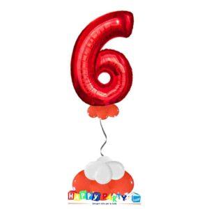 palloncini base da terra numeri singoli mylar 6 anni rosso