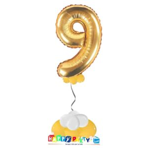 palloncini base da terra numeri singoli mylar 9 anni oro