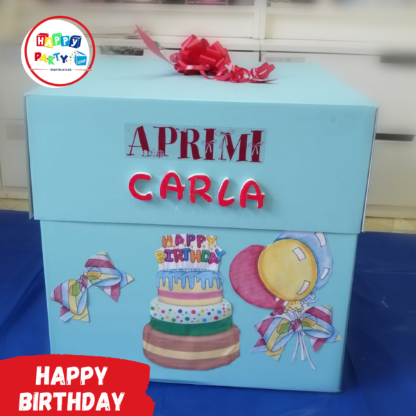 scatola regalo compleanno allestimenti palloncini