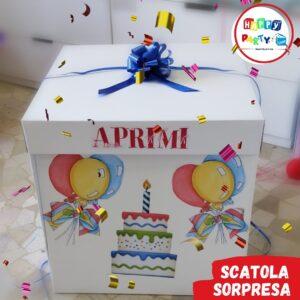 scatola regalo con palloncini
