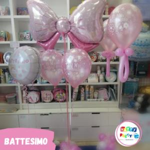 allestimento palloncini battesimo rosa