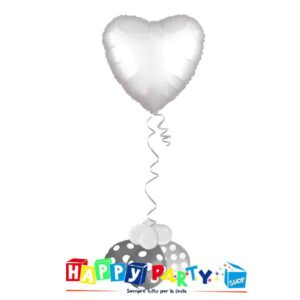 composizione palloncino cuore bianco